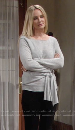 Sharon's grey tie waist sweater on The Young and the Restless