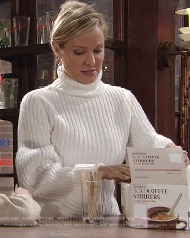Sharon's white turtleneck sweater with flared sleeves on The Young and the Restless