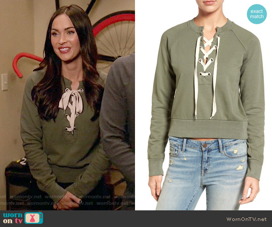 Sincerely Jules Lace-up Crop Sweatshirt worn by Megan Fox on New Girl