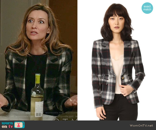 Smythe Peaked Lapel Blazer in Grey Plaid / Mahogany worn by Natascha McElhone on Designated Survivor