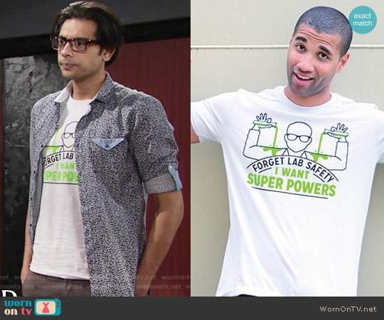 Snorg Tees Forget Lab Safety Tee worn by Abhi Sinha on The Young & the Restless