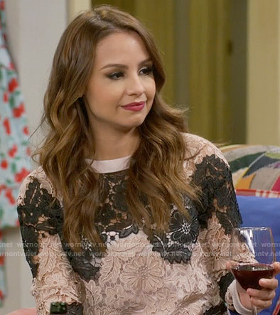 Sofia's lace sweater on Young and Hungry