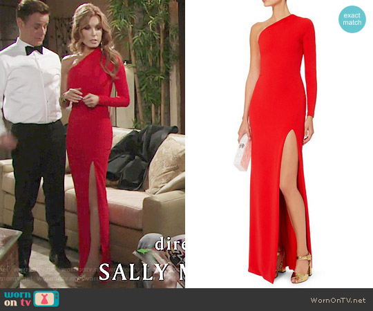 Solace London Nadia One Shoulder Gown worn by Tracey Bregman on The Young & the Restless