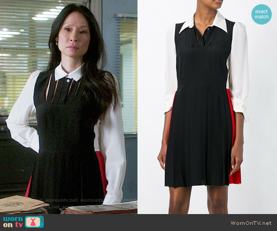 Sonia Rykiel Color Block Shirt Dress worn by Lucy Liu on Elementary