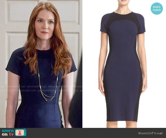 St. John Collection Colorblock Sculpture Knit Dress worn by Abby Whelan (Darby Stanchfield) on Scandal