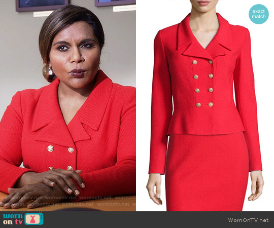 St John Collection Spencer Nouveau Boucle Knit Jacket worn by Mindy Kaling on The Mindy Project