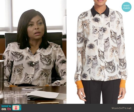 Stella McCartney Cat Print Silk Blouse worn by Taraji P. Henson on Empire