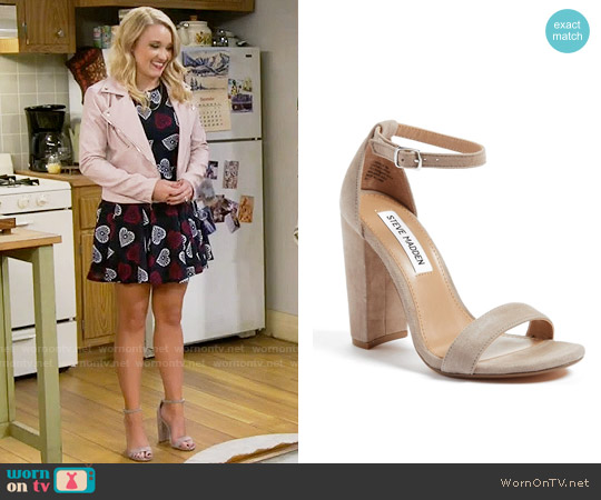 Steve Madden Carrson Sandal in Taupe Suede worn by Emily Osment on Young & Hungry