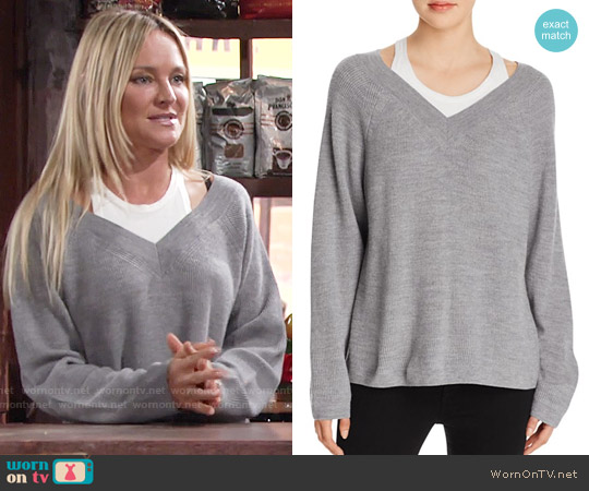 T by Alexander Wang Layered V-Neck Sweater worn by Sharon Case on The Young & the Restless