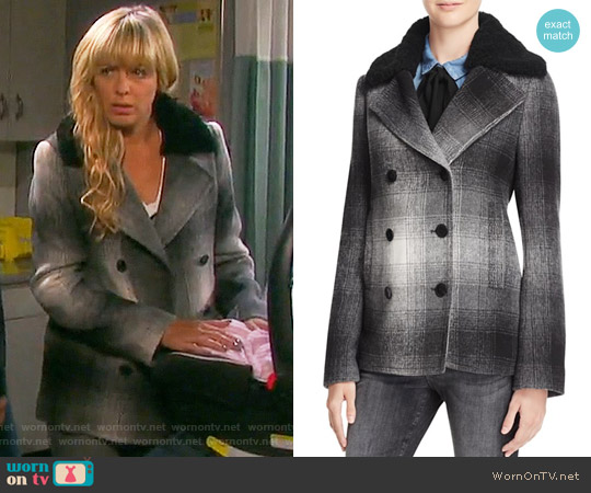 T by Alexander Wang Plaid Coat worn by Arianne Zucker on Days of our Lives