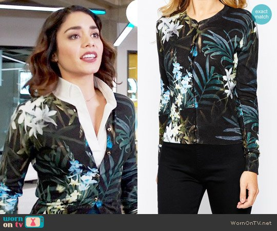 Ted Baker Perrie Twilight Cardigan worn by Emily Locke (Vanessa Hudgens) on Powerless