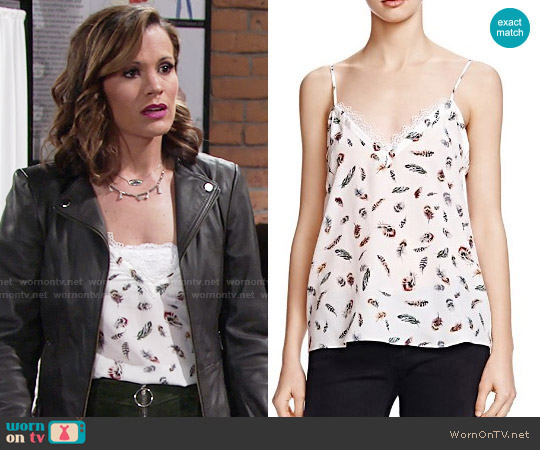 The Kooples Feather Print Silk Tank Top worn by Chelsea Lawson (Melissa Claire Egan) on The Young & the Restless