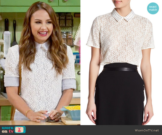 The Kooples Short Sleeve Crochet Shirt worn by Sofia Rodriguez (Aimee Carrero) on Young & Hungry