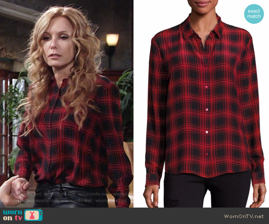 The Kooples Checked Silk Shirt worn by Tracey Bregman on The Young & the Restless