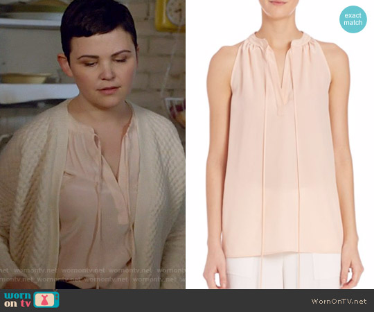 Theory Livilla Top in Pearl Pink worn by Ginnifer Goodwin on OUAT