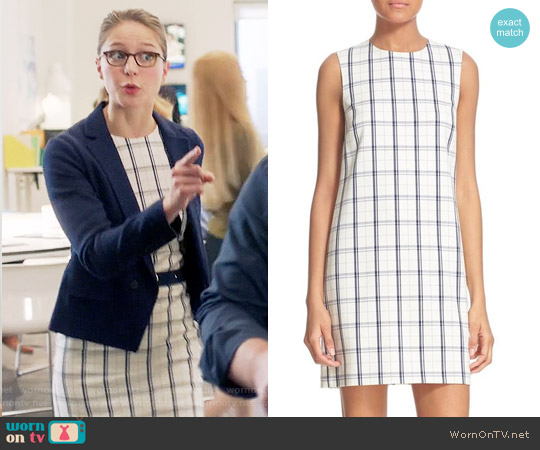 Theory Adraya Checked Dress worn by Melissa Benoist on Supergirl