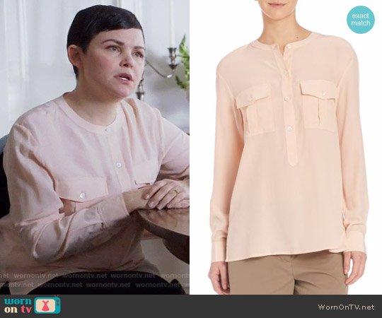 Theory Damaris Blouse in Pearl Pink worn by Mary Margaret