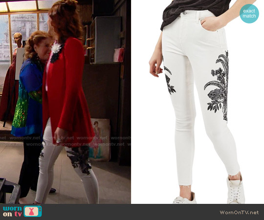 Topshop Jamie Floral Embroidered Jeans worn by Sally Spectra on The Bold & the Beautiful