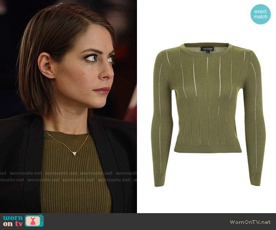 Topshop Pointelle Stitch Rib Crop Top worn by Thea Queen (Willa Holland) on Arrow