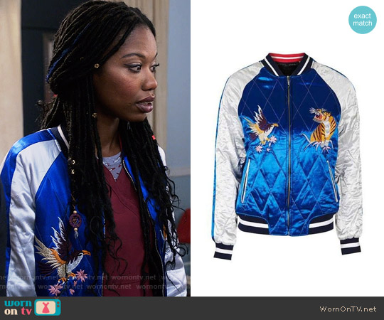 Topshop 2-in-1 Reversible Sateen Bomber Jacket worn by Xosha Roquemore on The Mindy Project