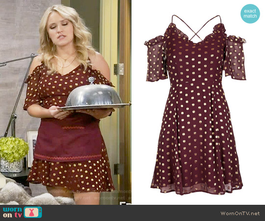 Topshop Spot Cold Shoulder Mini Dress worn by Emily Osment on Young & Hungry