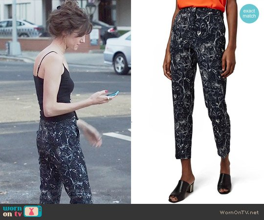 Topshop Wolf Print Cigarette Leg Trousers worn by Allison Williams on Girls