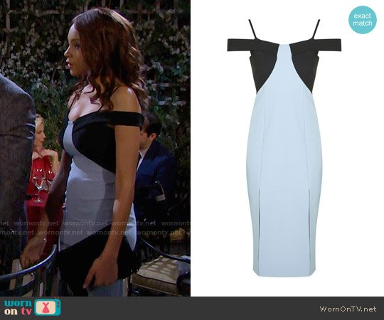 Topshop Colour Block Midi Dress worn by Nicole Avant (Reign Edwards) on The Bold & the Beautiful