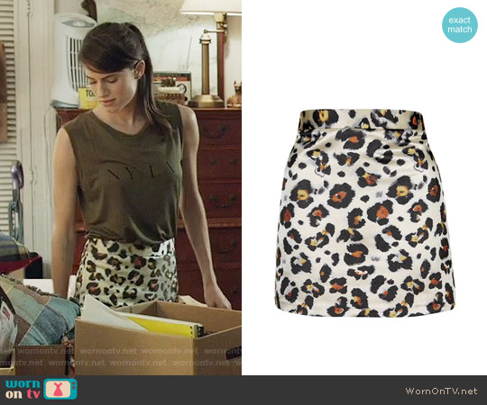 Topshop Leopard Jacquard Miniskirt worn by Marnie Michaels on Girls