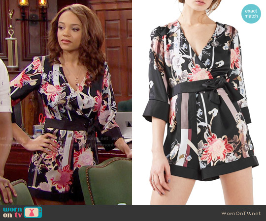 Topshop Tokyo Floral Wrap Romper worn by Nicole Avant (Reign Edwards) on The Bold & the Beautiful