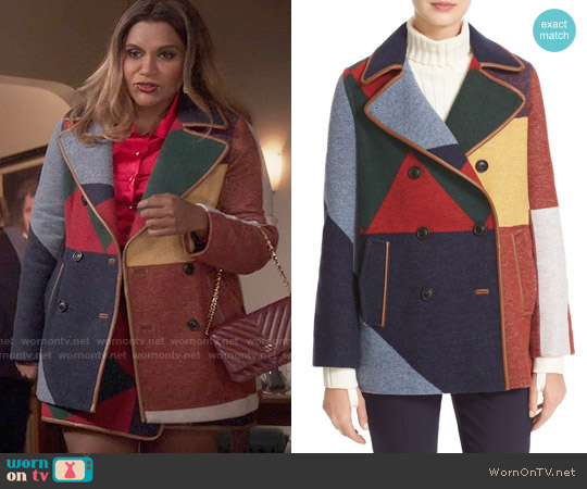 Tory Burch Cheval Peacoat worn by Mindy Kaling on The Mindy Project