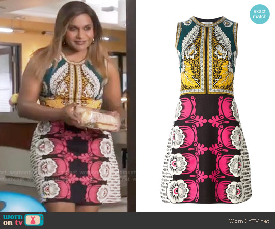 Valentino Foulard Printed A-Line Dress worn by Mindy Kaling on The Mindy Project