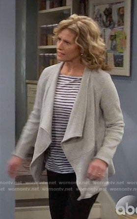 Vanessa's striped top and grey draped jacket on Last Man Standing