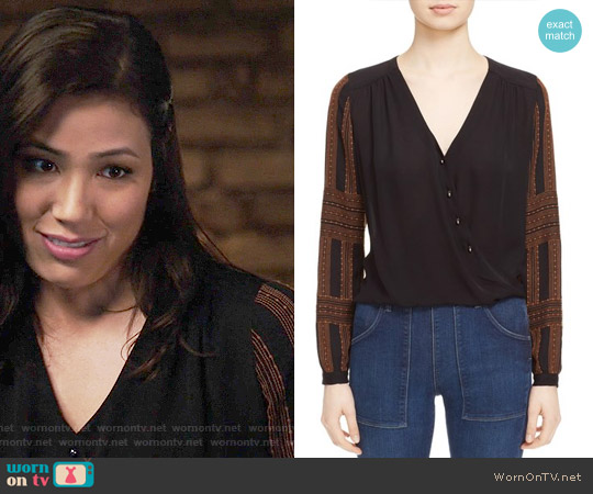 Veronica Beard Embroidered Silk Surplice Blouse worn by Angela Montenegro (Michaela Conlin) on Bones