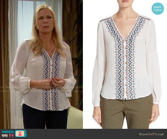 Veronica Beard Dream V-neck Embroidered Blouse worn by Katherine Kelly Lang on The Bold & the Beautiful