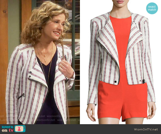 Veronica Beard Mara Stripe Tweed Moto Jacket worn by Nancy Travis on Last Man Standing