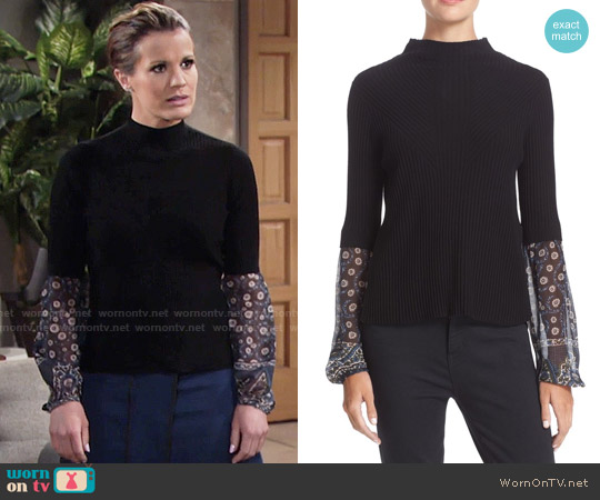Veronica Beard 'Moon' Mixed Media Sweater worn by Melissa Claire Egan on The Young & the Restless