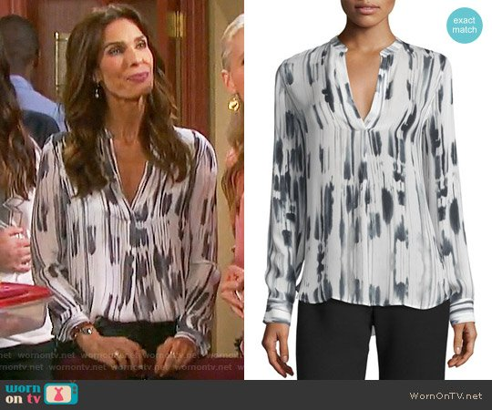 Vince Cascade-Print Split-Neck Silk Top worn by Hope Williams (Kristian Alfonso) on Days of our Lives