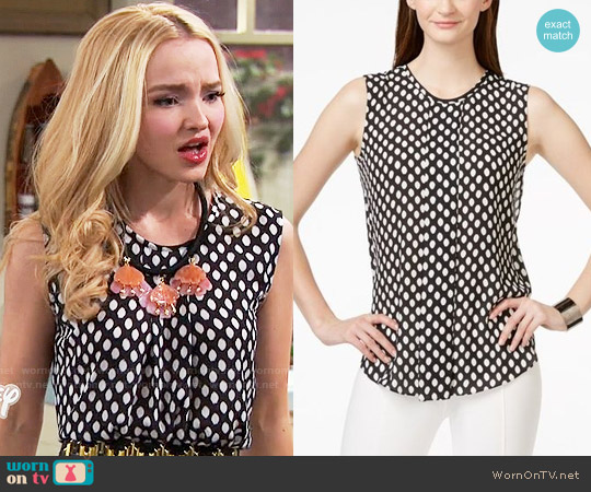 Vince Camuto Sleeveless Front-Pleat Blouse worn by Dove Cameron on Liv & Maddie