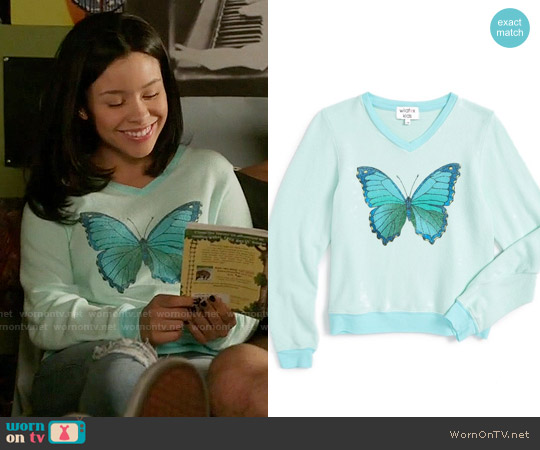 Wildfox 'Baggy Beach - Blue Butterfly' Graphic Sweatshirt worn by Mariana Foster (Cierra Ramirez) on The Fosters