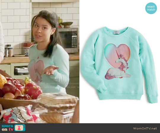 Wildfox Girls' Unicorn Sweatshirt worn by Cierra Ramirez on The Fosters