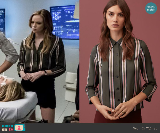 Le Fou by Wilfred Racine Blouse in Riverbend Stripe worn by Danielle Panabaker on The Flash