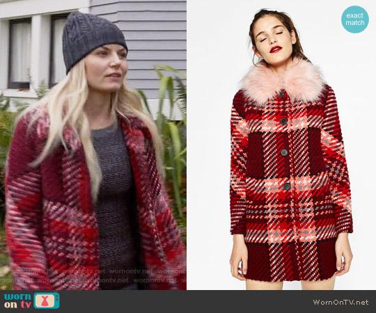 Zara Check Coat worn by Emma Swan (Jennifer Morrison) on OUAT