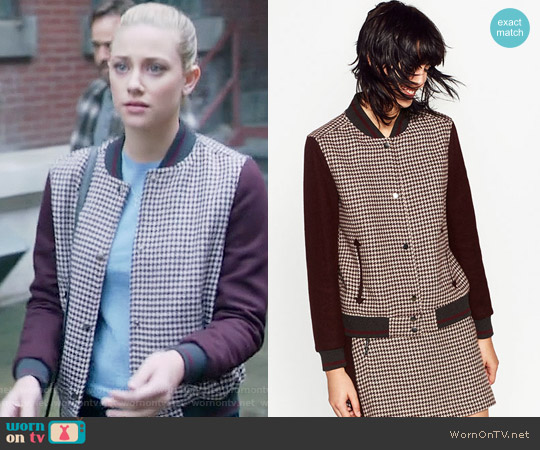 Zara Checked Bomber Jacket worn by Lili Reinhart on Riverdale
