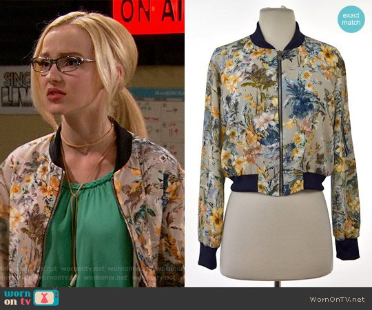 Zara Floral Print Bomber Jacket worn by Dove Cameron on Liv & Maddie