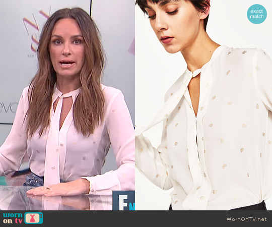 Zara Flowing Printed Blouse worn by Catt Sadler on E! News