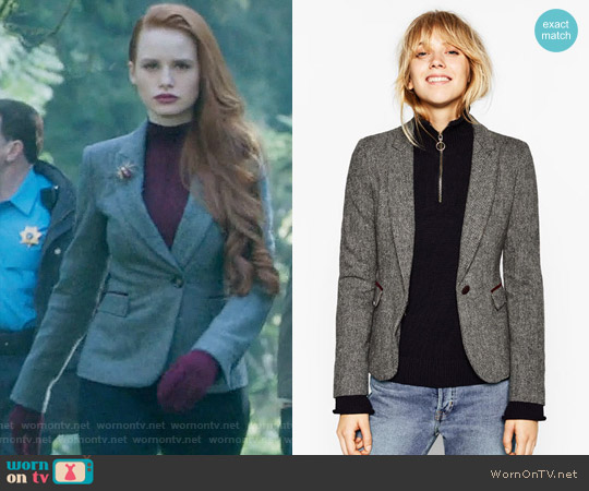 Zara Herringbone Blazer with Elbow Patches worn by Cheryl Blossom (Madelaine Petsch) on Riverdale