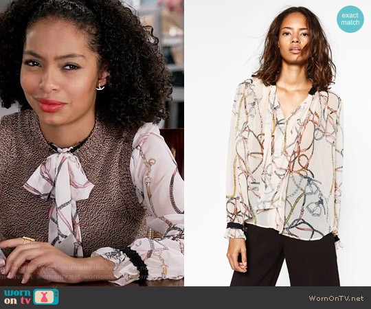 Zara Chain Printed Blouse worn by Zoey Johnson (Yara Shahidi) on Blackish