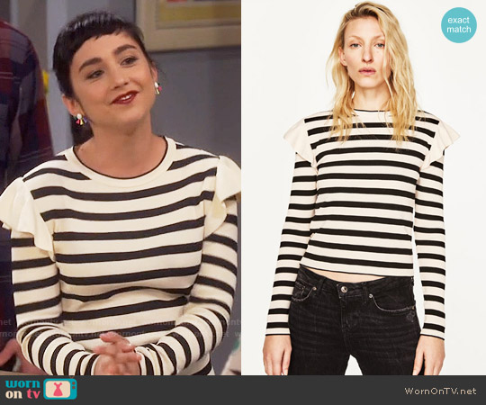 Zara Sweater with Shoulder Frill worn by  Molly Ephraim on Last Man Standing