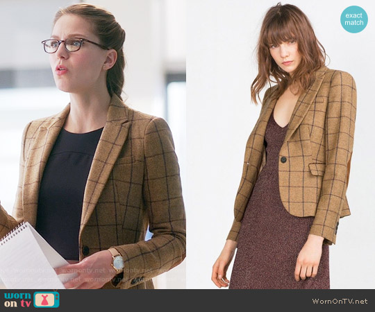Zara Windowpane Blazer with Elbow Patches worn by Melissa Benoist on Supergirl
