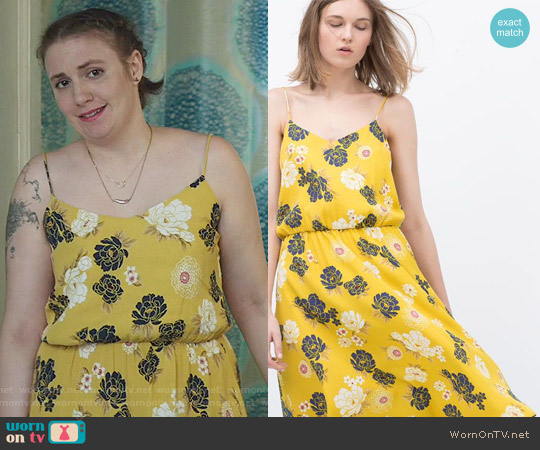 Zara Printed Dress worn by Hannah Horvath (Lena Dunham) on Girls